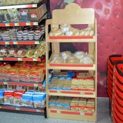 Expositor de Pão em madeira para Supermercado