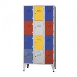 Armário Vestiário triplo com 12 Cacifos + Portas coloridas