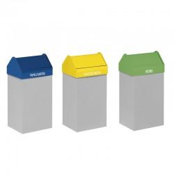 Ecoponto com 3 contentores com tampa basculante- 38L