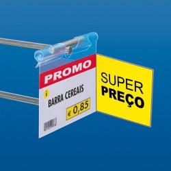 Etiqueta Porta-Preço com Bolsa Lateral para Ganchos